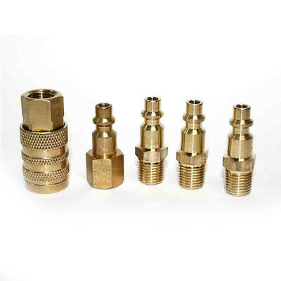 5pc Solid Brass Quick Coupler Set Connector Air Hose Fitting 14 Npt Female