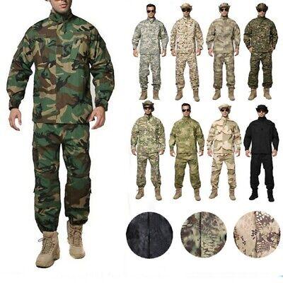 Mens Airsoft Military Tactical Combat BDU Uniform Jacket Pants Suits Sets SWAT (Swat Uniform)