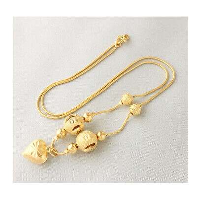 18 inch Thai women small light 24k gold plated heart bead pendant chain necklace