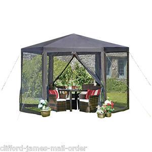 Hexagon Design Gazebo Shade Shelter Sun Garden Rain Canopy Steel Frame Mesh Side
