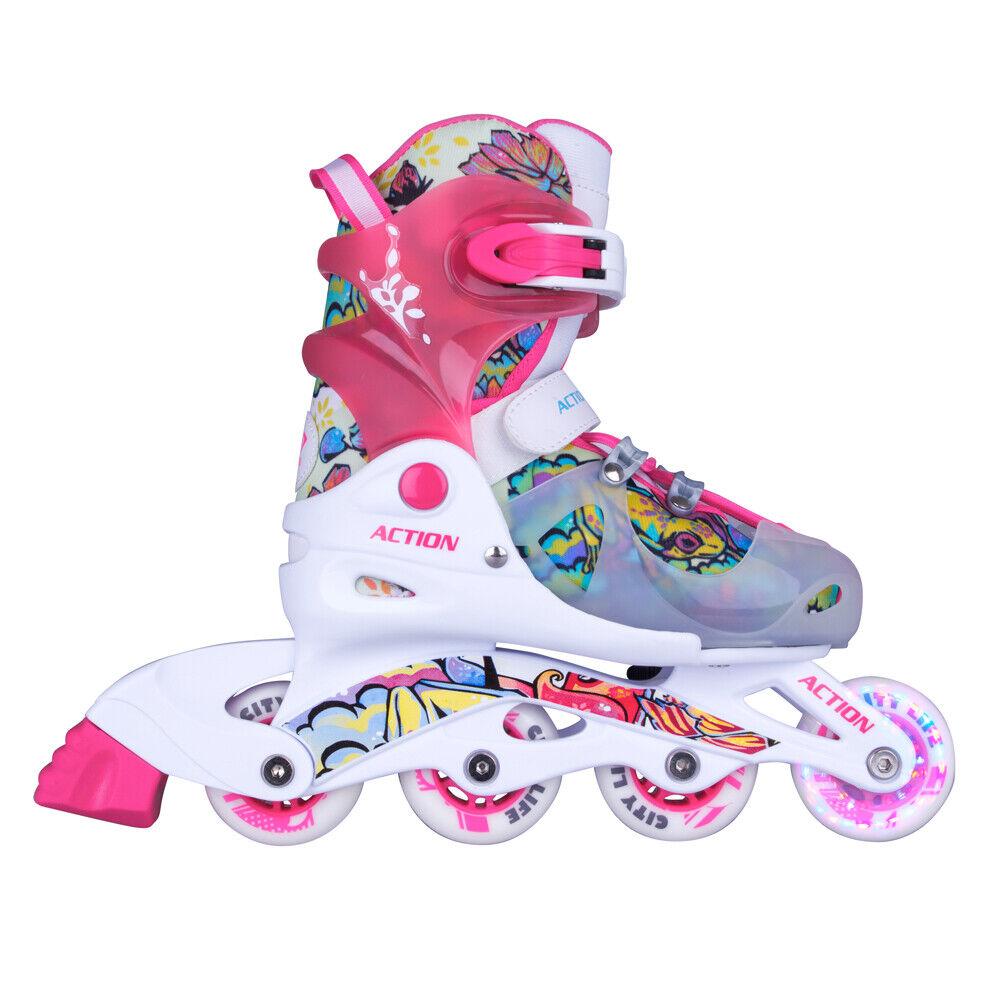 Kinder Inlineskates TriGo pink mit LED Leuchtrollen Gr Inline-Skates 26-29 verstellbar