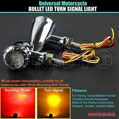 2x Motorcycle Chrome Bullet LED Turn Signal Indicator Lights 10mm Bolt Universal