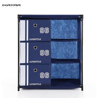 Stoff 3-Schublade Tragbare Kleiderschränke Regal Schrank, Ständer Schrank W9Q3 (Kleiderschrank Schränke)