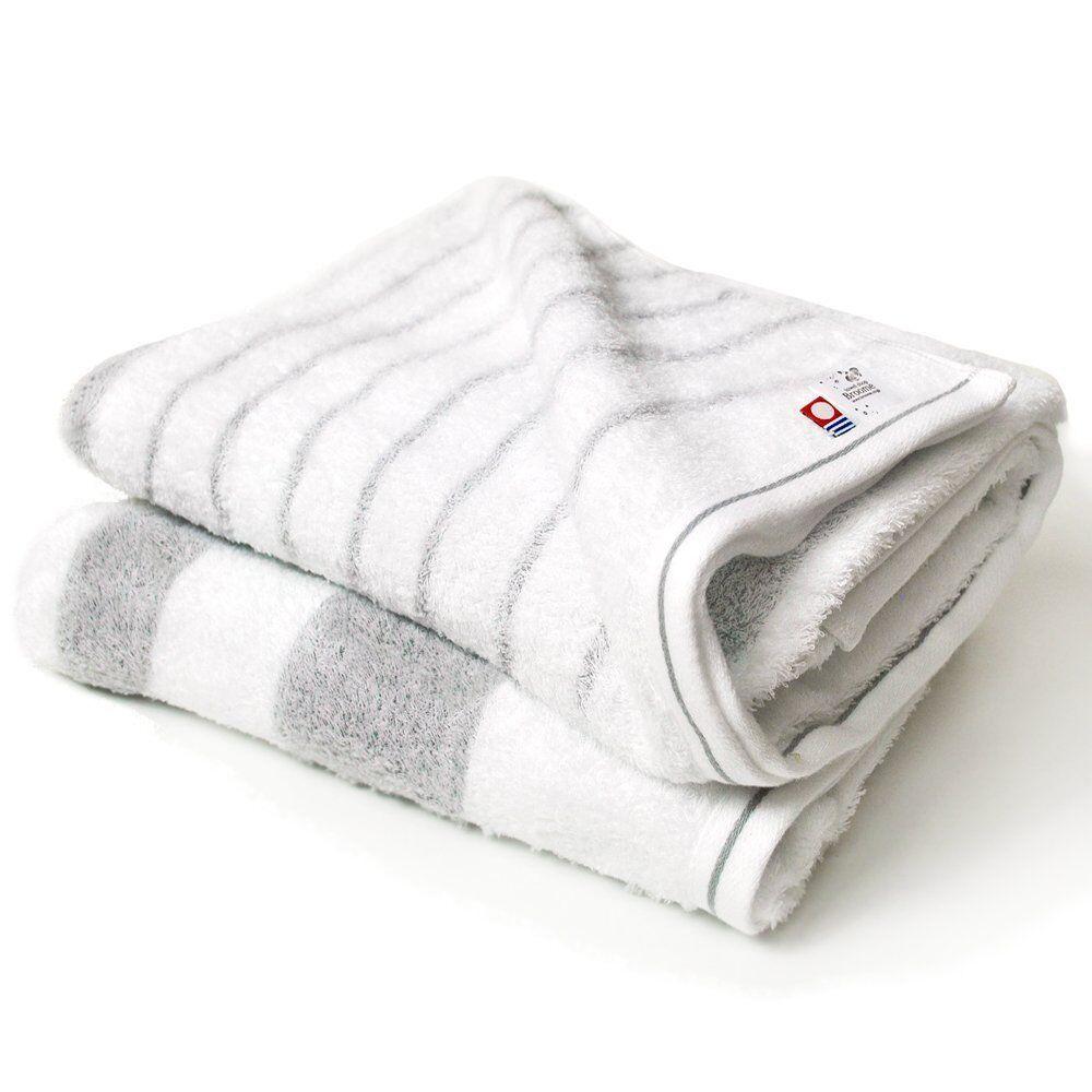 Imabari Bath towel Stripe gray Japanese High quality 2 sheet