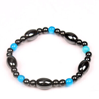 Natural Blue Cat Eye Hematite Stone Bead Bracelets Handmade Stretchy Cat Eye Hematite Bracelet