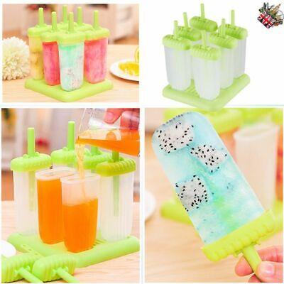 Large 6pcs Ice Lolly Cream Maker Mold DIY Popsicle Mould Frozen Yogurt Icebox UK