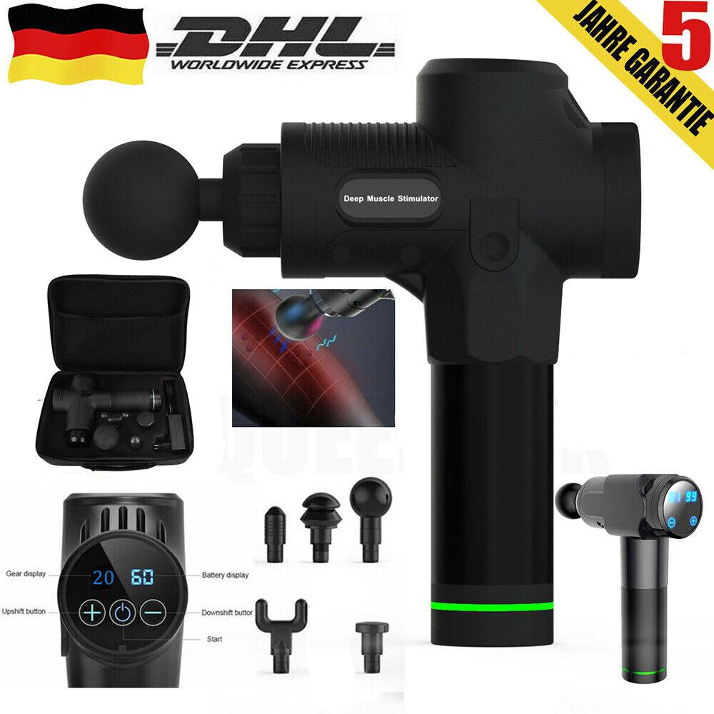 Elektrische Massagegeräte Schwarz 5 Köpfe Muskel Massagepistole Mit LCD-Anzeig