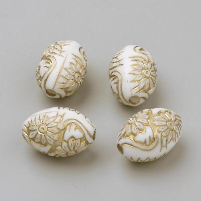 Acryl Oval (25 Stück Acrylperlen 16mm Gold Weiß Muster Oval Perlen Kunststoffperlen - 1070)