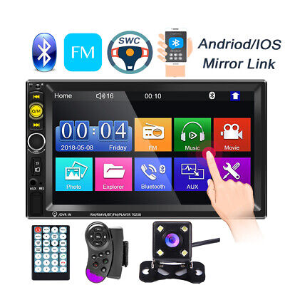 "7"" Double 2Din Touch Screen Car Stereo MP5 Player Bluetooth FM Radio Mirror Link"