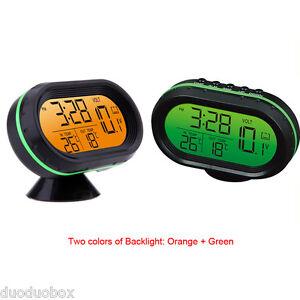 Auto LED Display Thermometer Voltage Meter Noctilucous Clock for 12V-24V Car