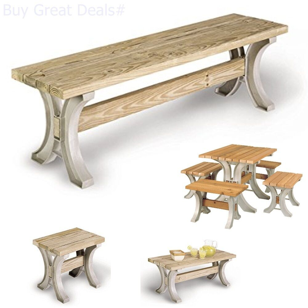 Enjoyable Details About Park Bench Table Garden Patio Furniture Yard Deck Wood Seat Wooden Home Outdoor Forskolin Free Trial Chair Design Images Forskolin Free Trialorg