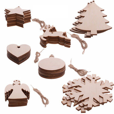 Wooden Snowman Decorations (Wooden Christmas Tree Snowflake Elk Snowman Pendant Christmas Crafts)