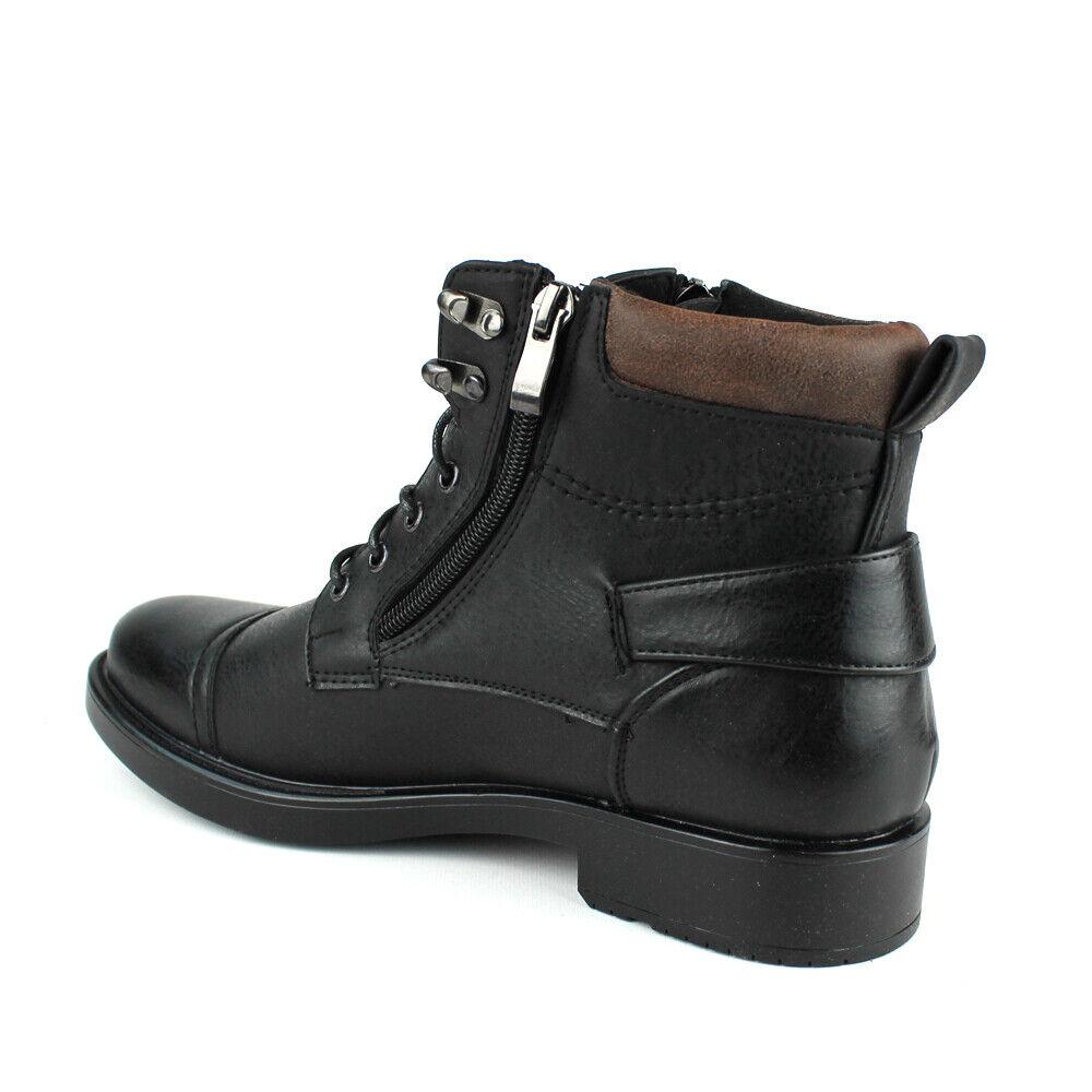 New Mens Dress / Casual Ankle Boots Lace Up Black Cap Toe Zipper Alberto Fellini 1