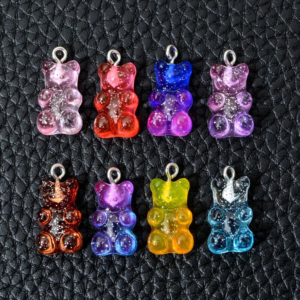 50Pcs Mixed Color Resin Gummy Candy Transparent Bear Charm Pendant DIY Earrings