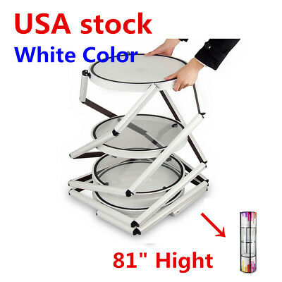 Usa 81 Round Portable Aluminum Spiral Tower Display Case With Shelves White