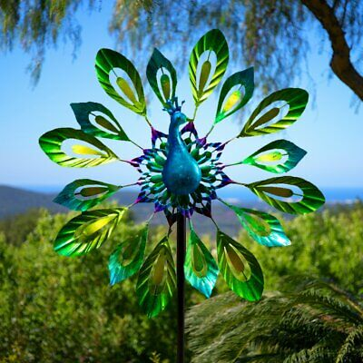 Dia 40cm Peacock Design Metal Garden Outdoor Wind Spinner by Primrose