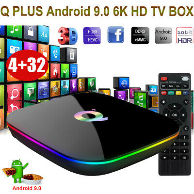 Q plus 6K 4+32G Android 9.0 Smart TV Box Quad Core Media Player HDMI MINIPC US