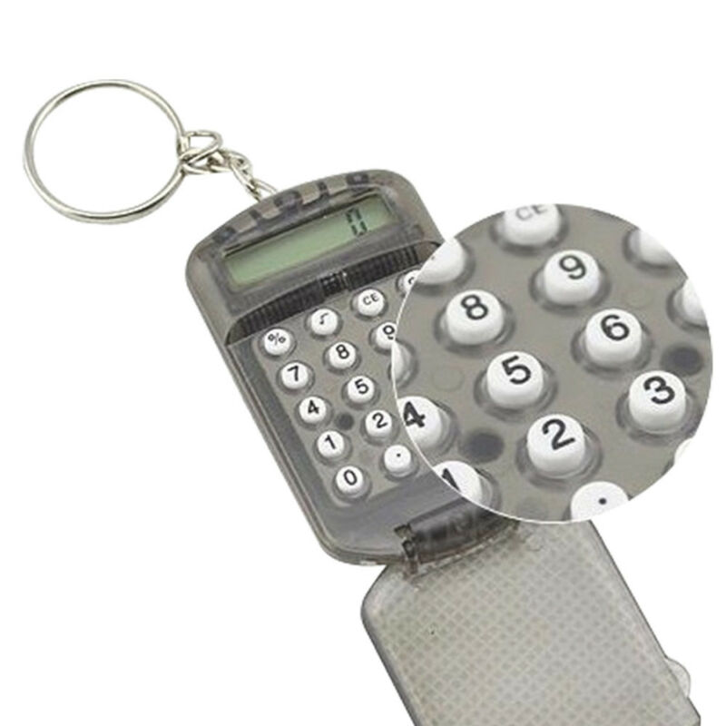 Mini 8 Digits Electronic Calculator With Keychain Student Office Supplies 1Pc