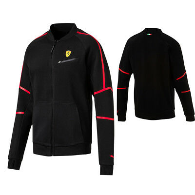Puma SF Ferrari Mens Full Zip Up Sweat Track Jacket Top Black 762132 02 P5F