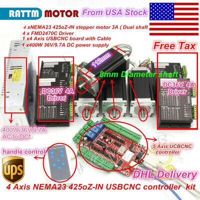 Usa 4 Axis Nema 23 Stepper Motor 112mm 425oz 40v 4a Driver Usb Cnc Router Kit
