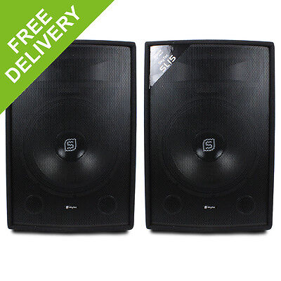 """2x Skytec 2-Way 15"""" Inch 1600W Passive Speakers DJ Disco PA Party Karaoke"""
