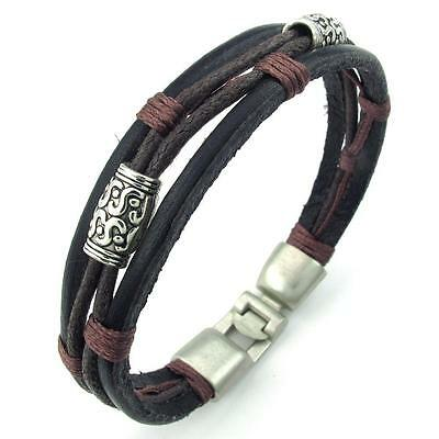 Mens Womens Brown Black Silver Leather Rope Bracelet Tribal Braided Cuff Bangle