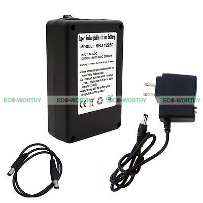 12V 2800mAh Rechargeable Li-ion Battery Portable Power Pack W/ Plug for CCTV Cam