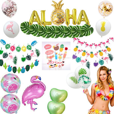 Hawaii Tropical Flamingo Pineapple Leaves Bunting Banner Balloons Summer Party](Balloons Hawaii)