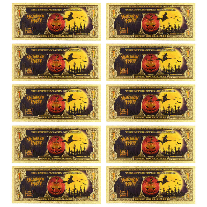 American Souvenir Gifts Halloween 24k Gold Plated Color Banknote 10pcs