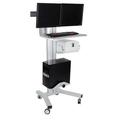 2 Monitor Stand Mobile Cart Computer Desk Tradeshow Office Height Adjust Shelf