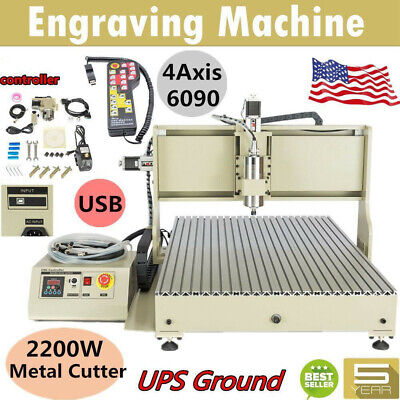 Usb 2.2kw Cnc 6090z Router 4 Axis Engraver Wood Drillmilling Machinecontroller