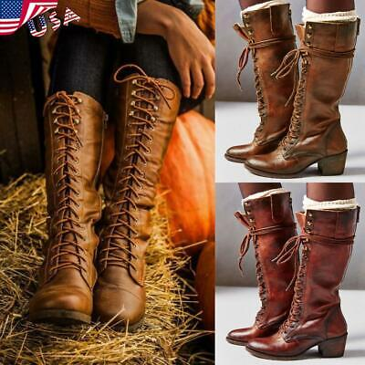 Women's Knight Riding Boots Leather Mid Calf Knee High Motorcycle Shoes Lace Ups