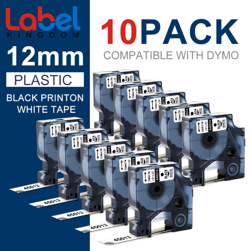 10-Pk/Pack D1 Label Tape 45013 S0720530 for DYMO 12mm LabelManager 160 280 420P