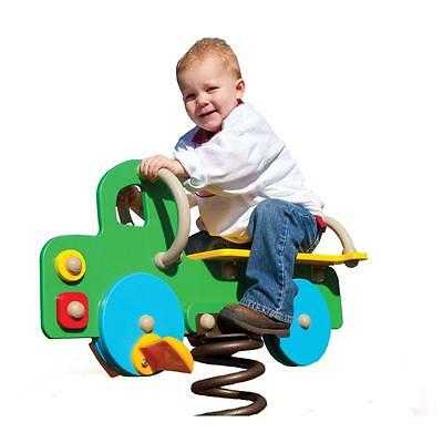 Green, Yellow and Blue Metal Truck Heavy Duty Spring Rider Playground Equipment