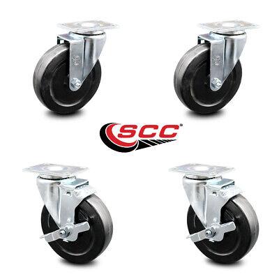 Hard Rubber Swivel Caster Set Of 4 W5 Wheels - 2 Wbrakes