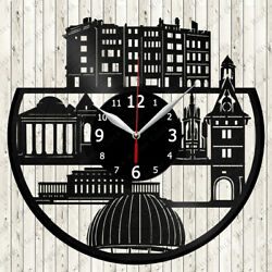 Geneva Skyline Vinyl Record Wall Clock Decor Handmade 7087