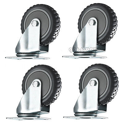 4 Pack 3-inch Rubber Wheel Swivel Plate Casters With Steel Top Plate Bearing