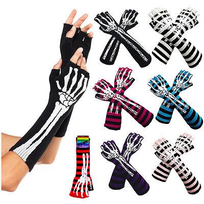 - Skeleton Skull Bone Arm Warmer Halloween Print Fashion Cotton Long Trim Gloves