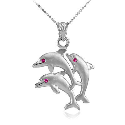 Satin Finish White Gold Triple Jumping Dolphins 3 CZ Red Eyes Pendant Necklace Cherry Satin Gold Pendant