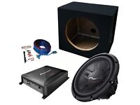 "Pioneer 12"" Single Car Subwoofer Bass Speaker Box Enclosure 1400w Package, Amplifier & Wiring Kit"