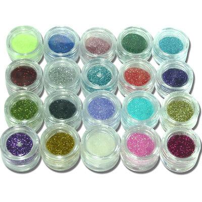 20x Glitter-Staub für UV Gel Nägel Nagel Glitzer Puder zum mischen einmischen