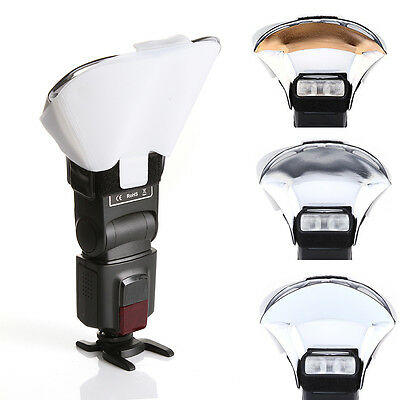 Speedlight Flash Bounce Reflective Card Diffuser w/ 3 Color Speedlite Reflector