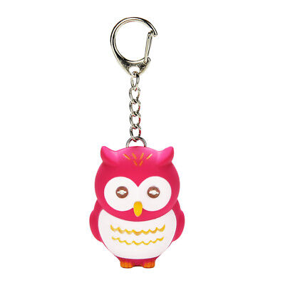 3D Cartoon Owl LED Light Keyring Key Chain Handbag Phone Hanging Acc Rose Red - Led Keychain