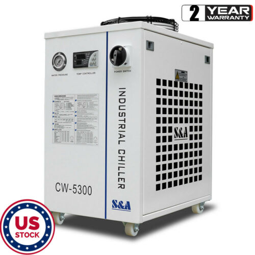 US STOCK 110V S&A CW-5300DI Industrial Water Chiller for Single 200W CO2 laser