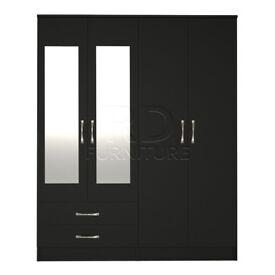 Hampton 4 door 2 drawer mirrored wardrobe black finish