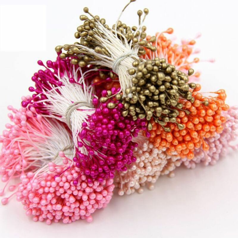 2 Bundle Multicolor Mini DIY pearl flower Double Heads Stamen Craft Cakes Decor