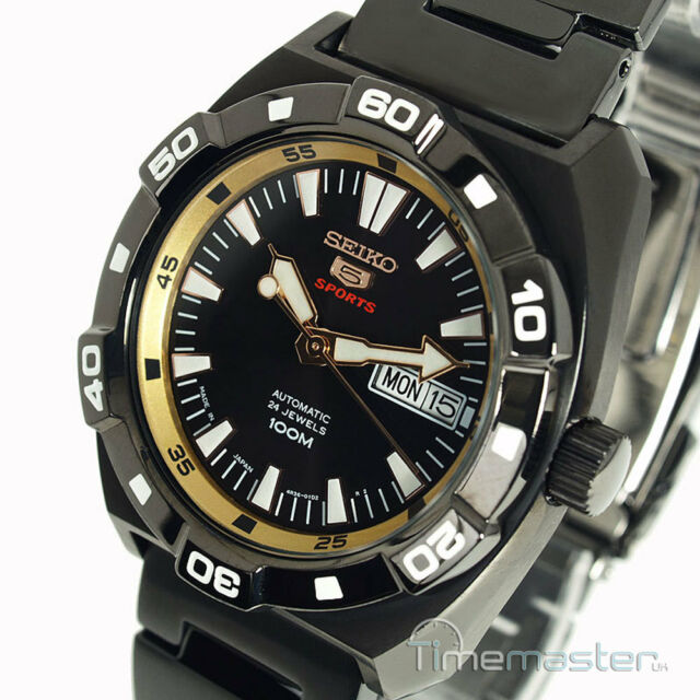 SEIKO 5 SPORTS MEN'S ION METAL AUTO BLACK AND GOLD FACE SRP287J1 SRP287