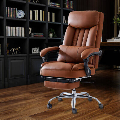 High Back Recline 360 Boss Office Chair Pu Leather Blackbrown Office Executive