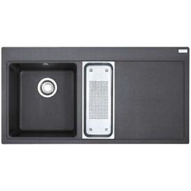 RHD Franke Mythos 1.5 Bowl Onyx Black Granite Kitchen Sink & Waste MTG651-100