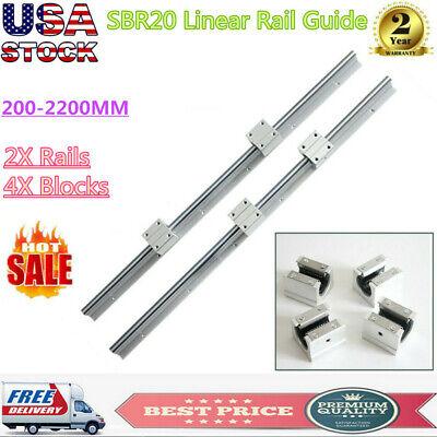 2x Sbr20 Slide Guide Shaft 200-2200mm Linear Rail Rod Sbr20uu Block Bearing Cnc